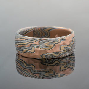 Mokume Gane Band in Twist Pattern and Firestorm Palette w/ Hammered Finish