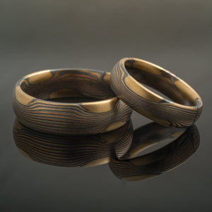 Wedding Band Set in Flow Pattern and Fire Metal Combination
