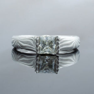 Mokume Gane Engagement Ring in Ash Palette with Radiant Cut Diamond