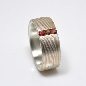 Mokume Gane Ring Wedding Band with rubies