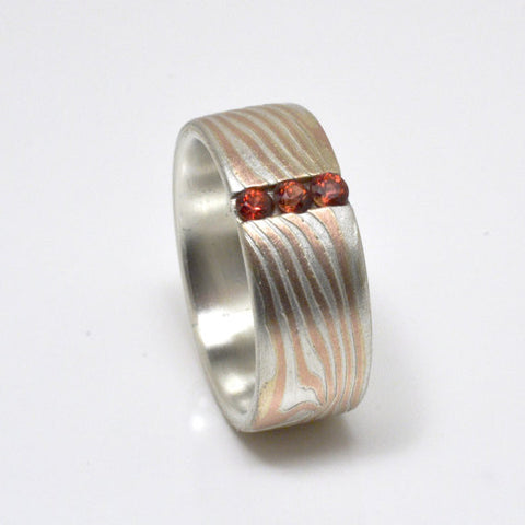 Bold Mokume Gane Ring in 14kt Red Gold & Silver with Three Spessartite Garnets
