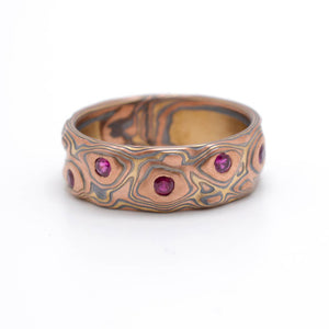 Mokume Gane ring or wedding band arn krebs fire palette guri bori pattern, with flush set rubies, flat profile, yellow gold, red gold and sterling silver