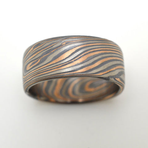 Mokume Infinity Band in Embers
