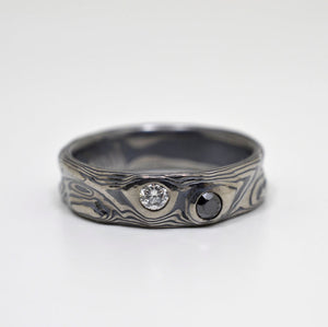 Mokume Gane Guri Bori Ring in Oxidized Ash with Black & White Diamonds