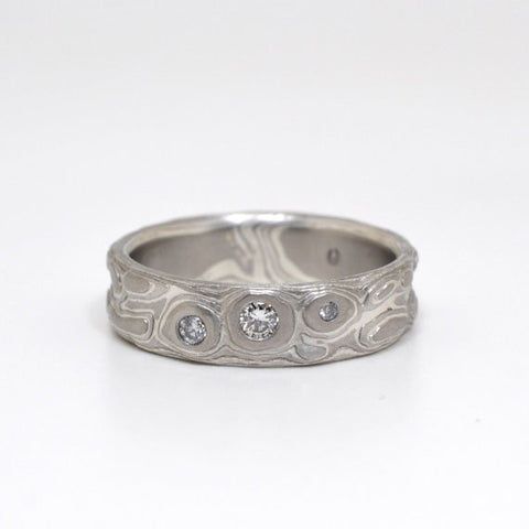 Guri Bori Mokume Gane Wedding Band with diamonds in Palladium and Sterling Silver with etched finish