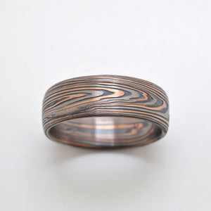 Mokume gane ring or wedding band arn krebs embers palette vortex pattern, flat profile, red gold silver and palladium