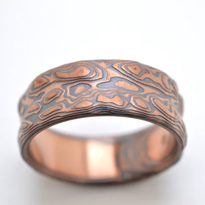 Mokume Gane Ring mens Wedding Band. Rustic Red gold and black silver