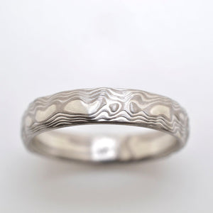 Mokume Gane Ring mens Wedding Band. Guri Bori. Landscape pattern .palladium and silver