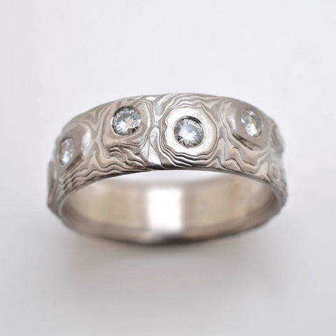 Mokume Guri Bori Band in Ash with Moissanite