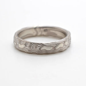 Mokume Gane Ring Wedding Band Guri Bori Pattern in Ash Palette AVAILABLE NOW