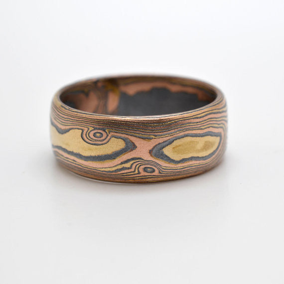 Rustic Knotty Wood Grain Mokume Gane wedding band in 14k Red Gold, 14k Yellow Gold, and Sterling Silver with Etched and oxidized Finish Active