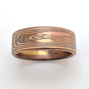 Mokume Gane Ring mens Wedding Band. Rustic, boho. Red gold, yellow gold, and silver