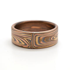 Rustic Endgrain Mokume Gane wedding band in 14k Red Gold, 14k Yellow Gold, and Sterling Silver with Etched and Oxidized Finish