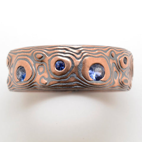 Guri Bori Mokume Gane Wedding Band with Sapphires in 14k Red Gold and Sterling Silver with Etched and Oxidized Finish