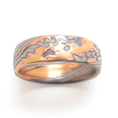 Rustic Twist Pattern Mokume Gane Ring in 4 color 14kt Yellow Gold, 14kt Red Gold, Palladium and Oxidized Silver with etched finish