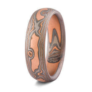 Bold Mokume Gane Ring or Wedding Band in Embers Palette and Woodgrain Pattern
