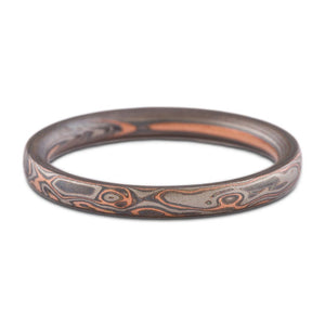 Mokume gane wedding ring embers palette etched and oxidized 2mm earthy