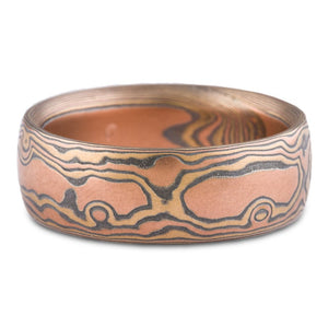 mokume gane wedding ring woodgrain pattern fire palette