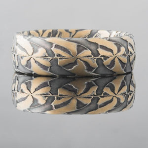 Mokume Gane Wedding Band or Ring in Pin Wheel Pattern SHIPS TODAY