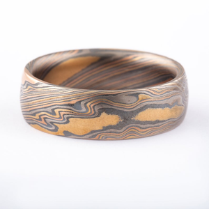 Mokume Gane Firestorm Band or Wedding Ring in Twist Pattern