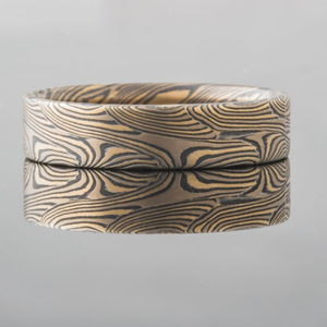 Mokume Gane Ring or Wedding Band in Pattern Welded SHIPS TODAY
