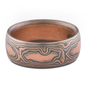 mokume gane wedding band etched and oxidized embers palette woodgrain pattern