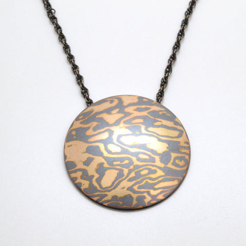 Mokume Gane Pendant in 14k Yellow Gold and Oxidized Silver with Satin or Polished Finish