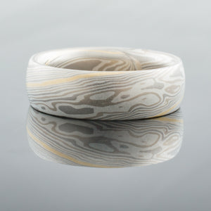 Earthy Mokume Gane Wedding Band or Ring in Ash Palette and Twist Pattern with an added 18k Yellow Gold Stratum
