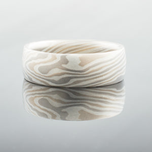 Mokume Gane Wedding Band or Ring in Smoke Palette and Twist Pattern
