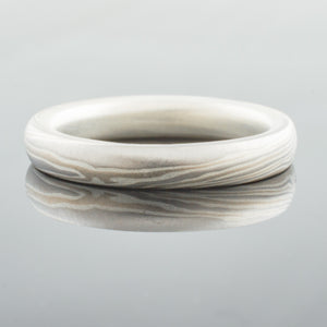 Modern Mokume Gane Wedding Band or Ring in Smoke Palette and Twist Pattern with added silver lining