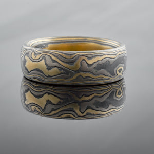 Artisan-Crafted Mokume Gane Ring or Wedding Ban in Flare Palette and Woodgrain Pattern