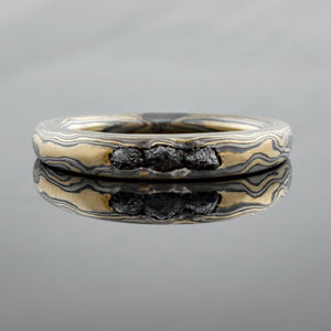 Organic Mokume Gane Wedding Band or Ring in Woodgrain Pattern and Flare Palette with Channel Set Raw Black Diamonds
