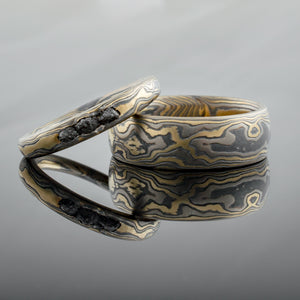 mokume ring mens band wedding ring woodgrain gold
