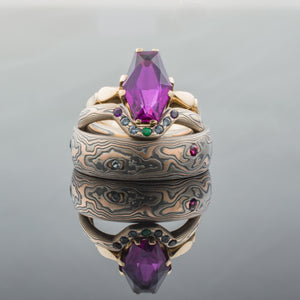 Elegant Mokume Gane Wedding Bands or Ring Set in Embers Palette in Woodgrain Pattern with Emeralds, Sapphies, and Amethyst