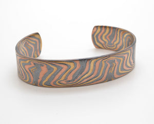 Mokume Gane Cuff Bracelet Red gold, yellow gold, palladium and silver