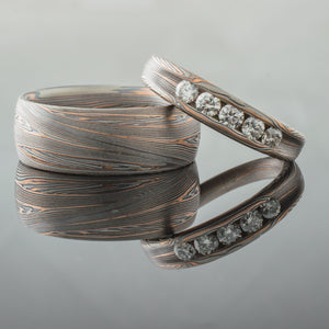 ring set mokume gane wedding band set diamonds stones