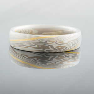 Contemporary Mokume Gane Ring or Wedding Band in Smoke Palette and Twist Pattern with added 18k Yellow Gold Stratum