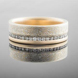 mokume gane ring mens wedding band diamonds stones woodgrain