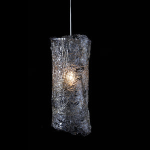 Clear cylinder shade resin cracked ice pattern lace like with single bulb hanging from white cord