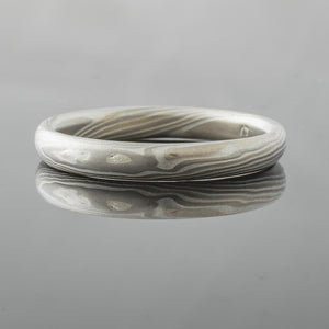 Earthy Mokume Gane Wedding Band or Ring in Twist Pattern and Smoke Palette