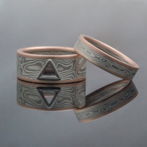 Mokume Gane Wedding Bands or Rings in Woodgrain Pattern and Ash Palette w/ Macle Stone Setting