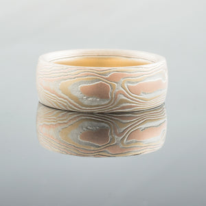Artisan Mokume Gane Wedding Band or Ring in Fire Palette and Woodgrain Pattern with Etched Finish