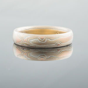 mokume gane ring mens wedding band gold woodgrain