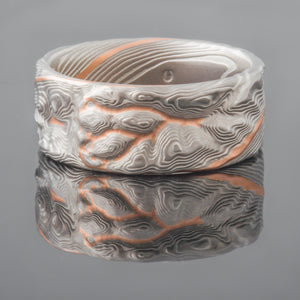 Earthy Mokume Gane Guri Bori Twist Wedding Ring or Band in Ash Palette with an added Red Gold Stratum