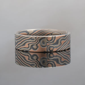 Mokume Gane Ring or Wedding Band in Twist Pattern and Custom Embers Palette w/ White Gold