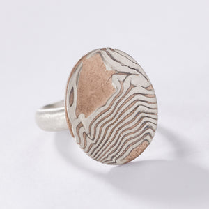 mokume gane ring cocktail signet ring gold oxidized woodgrain