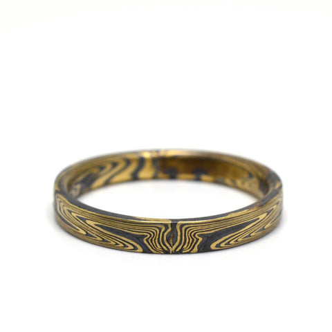 Mokume Echo Ring in Oxidized Spark