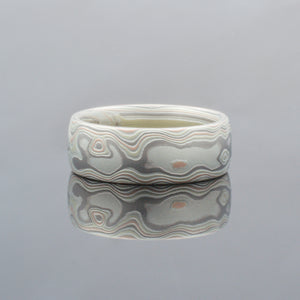 Mokume Gane Ring or Wedding Band in Woodgrain Pattern and Firestorm Palette