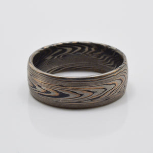 mokume gane ring mens wedding band gold oxidized woodgrain