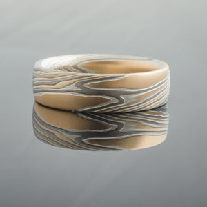 Contemporary Mokume Gane Wedding Band or Ring in Flare Palette and Twist Pattern